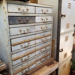 old metal chests fill with what left of dad's workshop